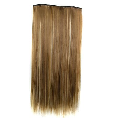 24 Inch 120g Long Synthetic Straight Clip In Hair Extensions with 5 Clips Hairpiece 1- Wigs & Hair Extensions