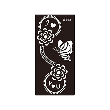 1pc Women Body Butterfly Flower Henna Indian Airbrush Stencil I Love You Temporary Tattoo Sticker S208- Henna Tattoos