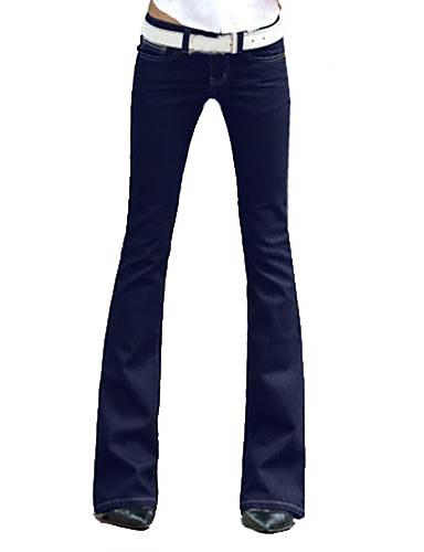 Women's Wide Leg Solid Blue Denim Bootcut Jeans- Women's Pants