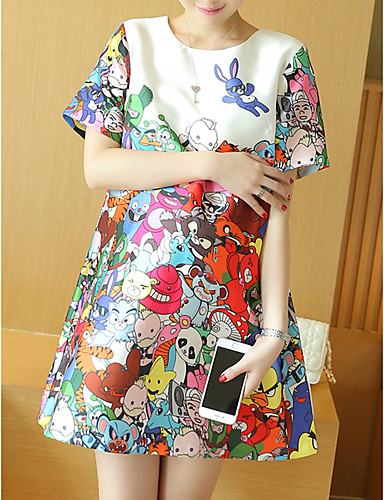 Print Round Neck Above Knee Short Sleeve White Rayon Spring-