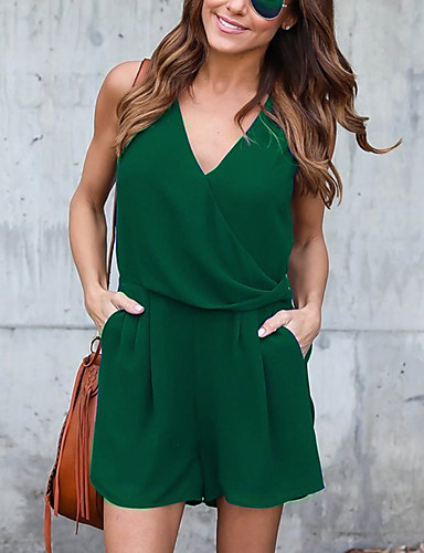 Women's High Rise Chiffion Deep V Off-The-Shoulder Going out Casual/Daily RompersSexy Simple Slim Solid Summer Fall- Women's Jumpsuits & Rompers