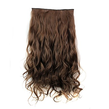 24 Inch 120g Long Brown Heat Resistant Synthetic Fiber Curly Clip In Hair Extensions with 5 Clips- Wigs & Hair Extensions