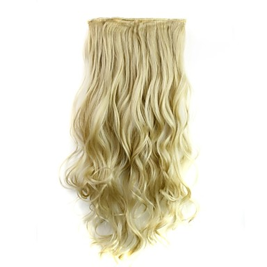 24 Inch 120g Long Heat Resistant Synthetic Fiber Blonde Curly Clip In Hair Extensions with 5 Clips- Wigs & Hair Extensions