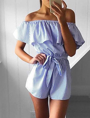 Women Slim RompersGoing out Casual/Daily Sexy Street chic Lace Up Bow Layer Striped Boat Neck Short Sleeve High Rise Micro-elastic Summer- Women's Jumpsuits & Rompers