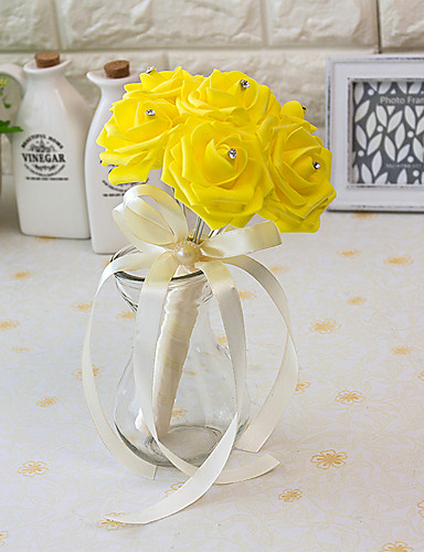 MINI Size PE Foam Rose Flower Round Shape Bouquets for Bride Wedding 15*10CM7 pcs Head- Wedding Flowers
