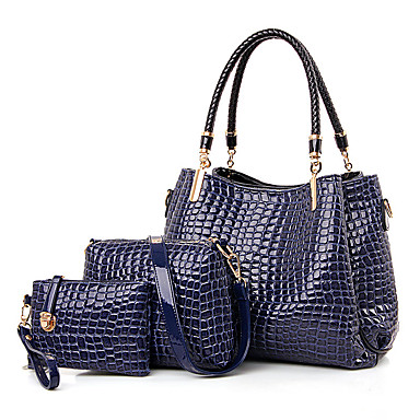 Women Patent Leather Casual Bag Sets- Bag Sets