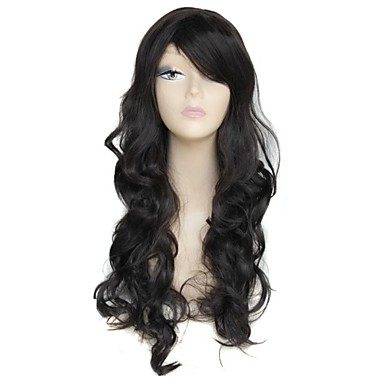26 Inch Long Black Big Wave Female Elegant Fashion 180 Degree Hight Temperature Fiber Synthetic Wig- Wigs & Hair Extensions