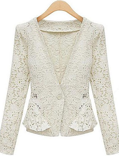 WeiMeiJia?® Women's Lace Lapel Neck All Matching Linen Overcoat- Blazers