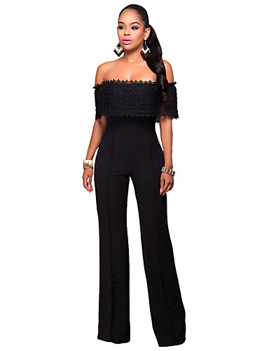 Women's Wide Leg JumpsuitsCasual/Daily / Club Sexy / Simple Solid Off-The-Shoulder Lace / Backless Boat Neck Short Sleeve Mid Rise Micro-elastic- Women's Jumpsuits & Rompers