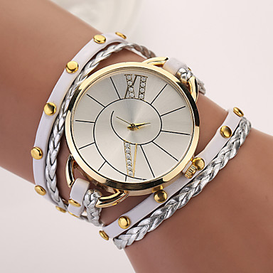 New Hot Women Dress Watches Strap Watch High-Quality Punk Retro Leather Bracelet Laminated Quartz Hot Sale Cool Watches Unique Watches Fashion Watch- Women's Watches