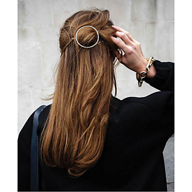 1 Pcs Round Clip Hairpin Circular Edge Horsetail Clip To Gold And Silver Alloy Hairpin- Hair Accessories