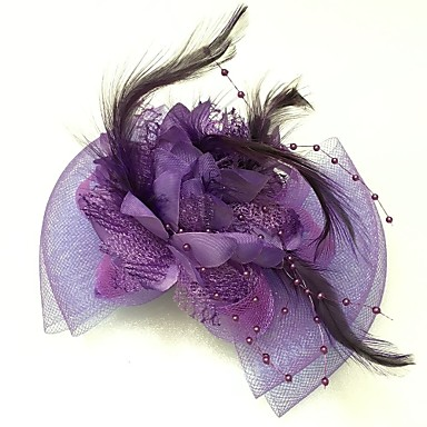 Women's Feather Tulle Net Headpiece-Wedding Special Occasion Fascinators 1 Piece- Headpieces