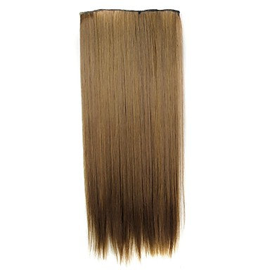 24 Inch 120g Long Synthetic Hairpiece Straight Clip In Hair Extensions with 5 Clips 4- Wigs & Hair Extensions