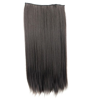 24 Inch 120g Long Synthetic Straight Clip In Hair Extensions with 5 Clips- Wigs & Hair Extensions