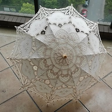 "Wedding / Beach / Daily / Masquerade Lace / Cotton Umbrella 26""(Approx.66cm) Metal / Wood 30.7""(Approx.78cm)- Wedding Umbrellas"