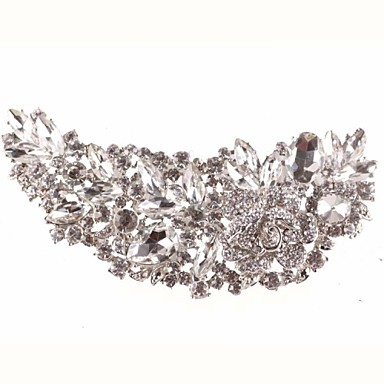 Luxury Silver Crystal Rhinestone Flower Hair Comb for Wedding Party Hair Jewelry- Headpieces