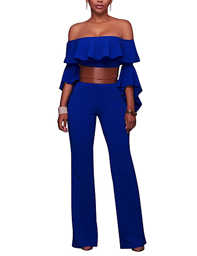 Women Wide Leg JumpsuitsCasual/Daily Club Sexy Falbala Simple Slim Solid Backless Boat Neck Flare Sleeve High Rise Micro-elastic Summer Fall- Women's Jumpsuits & Rompers