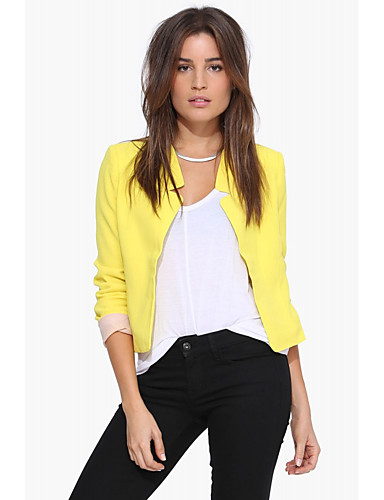 Solid Shirt Collar Long Sleeve Short Polyester-