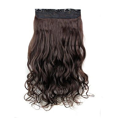 24 Inch 120g Long Dark Brown Heat Resistant Synthetic Fiber Curly Clip In Hair Extensions with 5 Clips- Wigs & Hair Extensions