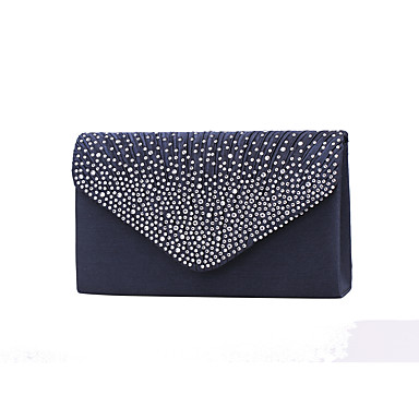 Women Satin Crystal Formal Event Party Wedding Evening Bag Handbag Clutch Clutches