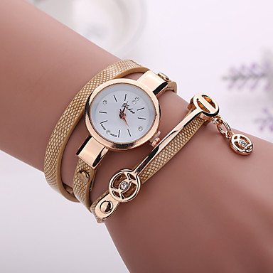 New Fashion Women Dress Wristwatch Vintage Quartz Analog Watch Strap Watch New Bracelet Quartz PU Wrist Watch Cool Watches Unique Watches- Women's Watches