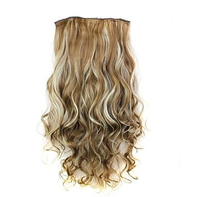 24 Inch 120g Long Heat Resistant Synthetic Fiber Curly Clip In Hair Extensions with 5 Clips- Wigs & Hair Extensions