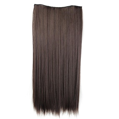 24 Inch 120g Long Synthetic Hairpiece Straight Clip In Hair Extensions with 5 Clips 2- Wigs & Hair Extensions