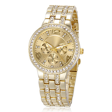Women's Watch Fashion Sparkle Diamante Strap Watch Luxury Gold Dial Wrist Watch Cool Watches Unique Watches- Women's Watches