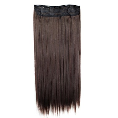 24 Inch 120g Long Synthetic Hairpiece Straight Clip In Hair Extensions with 5 Clips 1- Wigs & Hair Extensions