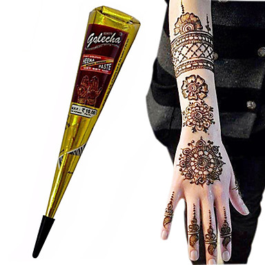 86cccde318d46 Halloween BLACK COLOR HERBAL HENNA CONES Temporary Tattoo Body ART INK HINA KIT  Mehandi(1pcs