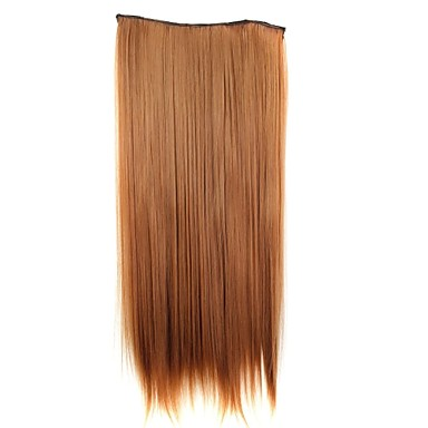 24 Inch 120g Long Synthetic Hair Piece Straight Clip In Hair Extensions with 5 Clips- Wigs & Hair Extensions