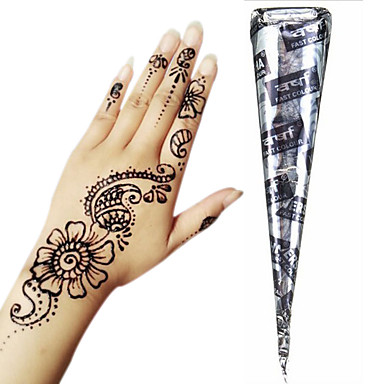 Black Herbal Henna Cones Temporary Tattoo Kit Body Art Mehandi Ink ...