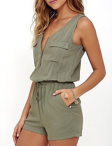 Women's Mid Rise Going out Casual/Daily Pocket Slim Fashion RompersSexy Simple Slim Solid Summer- Women's Jumpsuits & Rompers