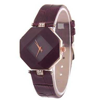 Women's Leather Band Analog Quartz Rhombus Case Wrist Watch Fashion Watch Cool Watches Unique Watches Strap Watch- Women's Watches
