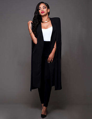 Women's Casual/Daily / Work Simple / Street chic Cloak All Match OL Style Spring / Fall BlazerSolid Cowl Long Sleeve- Blazers