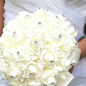 Wedding Flowers Round Roses Bouquets Party Evening Satin Foam Rhinestone
