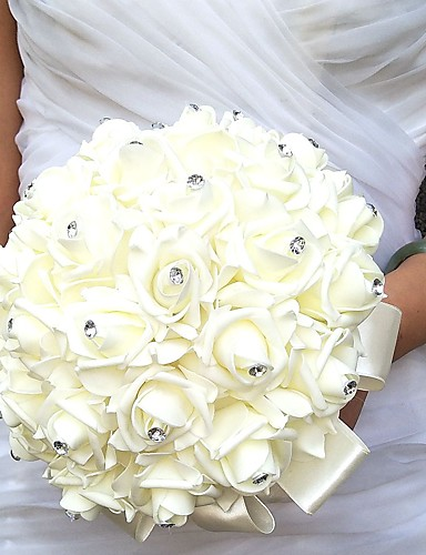 Wedding Flowers Round Roses Bouquets Wedding Party/ Evening Satin Foam Rhinestone- Wedding Flowers