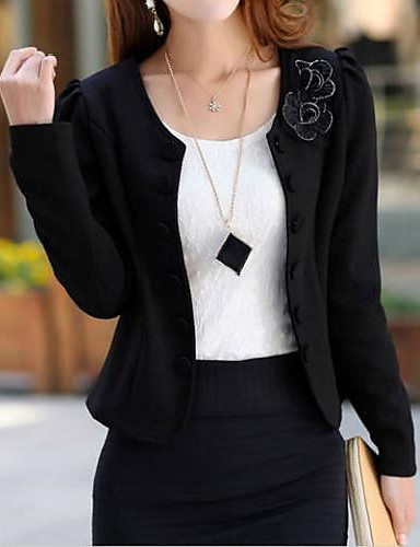 Women's Elegant Double Breasted Long Sleeve Jacket- Blazers
