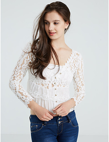 Women's Lace Going out Sexy Spring Summer FallSolid V Neck Long Sleeve White Polyester Thin- Blazers