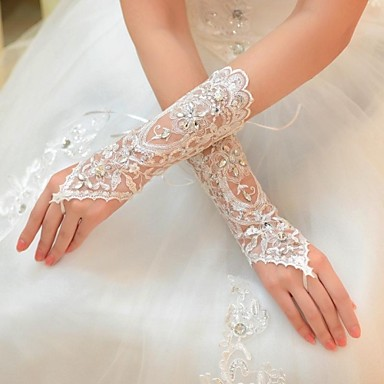 Elbow Length Glove Tulle Bridal Gloves Spring Summer Fall Winter Rhinestone- Gloves