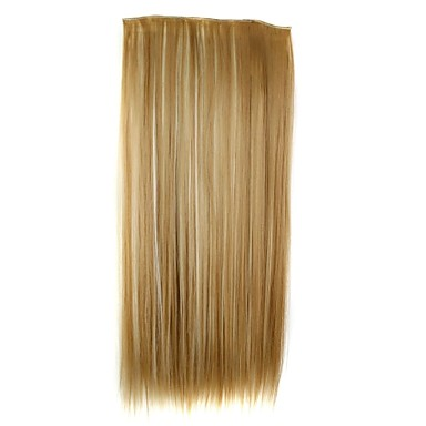24 Inch 120g Long Synthetic Straight Clip In Hair Extensions with 5 Clips Hair Piece 1- Wigs & Hair Extensions