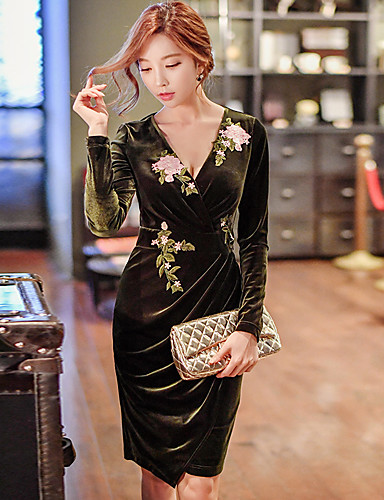 Women's Going out Casual Daily Vintage Party Cocktail Street chic Sophisticated Punk & Gothic Bodycon Sheath Dress Solid Ruched Long Sleeve- Maternity Dresses