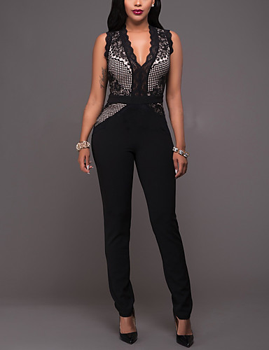 Women's Slim JumpsuitsParty/Cocktail Club Sexy Street chic Color Block Patchwork Lace Mesh V Neck Sleeveless Mid Rise Micro-elastic- Women's Jumpsuits & Rompers