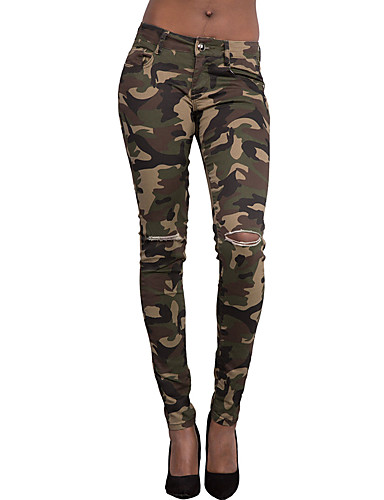 Women's Skinny Jeans PantsGoing out Holiday Vintage Street chic All Match Hin Thin Camouflage Ripped Mid Rise Zipper Micro-elastic Spring- Women's Pants