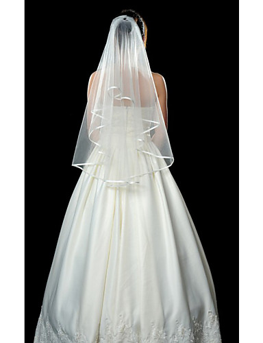 Wedding Veil One-tier Fingertip Veils Ribbon Edge 53.15 in (135cm) Tulle White IvoryA-line
