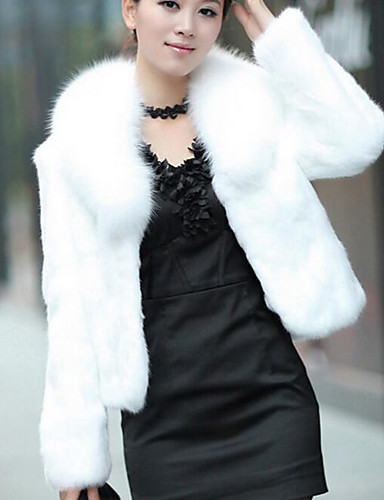 Solid Long Sleeve White / Black Faux Fur-