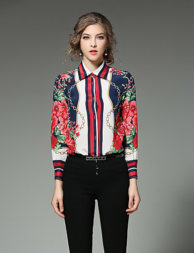 Floral Shirt Collar Long Sleeve White Cotton Thin-