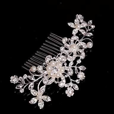 Alloy Hair Combs With Imitation Pearl/Rhinestone Wedding/Party Headpiece- Headpieces