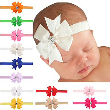 20 pcs/set Baby Girls Bows Hair Clips With Rhinestone In Center- Hair Accessories
