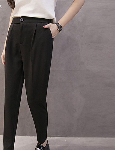 Real shot Korean chiffon pants feet harem pants female pantyhose loose thin Slim pants suit- Women's Pants